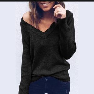 Soft and Chic Black V Neck Sweater